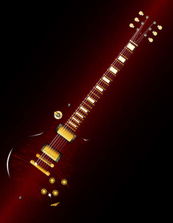 A typical solic body electric guitar abstract over a dark background