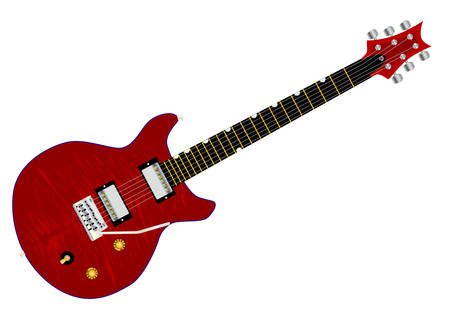 A typical double cutaway electric guitar over white background.