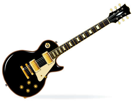 A definitive rock and roll guitar in black, isolated over a white background.