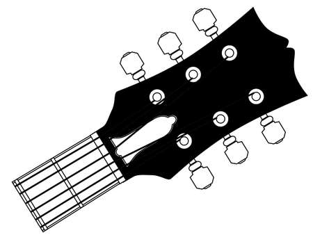 A traditional guitar headstock with strings and tuners.
