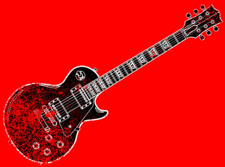 A definitive rock and roll guitar in black on a grunge background. Illustration