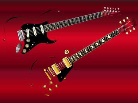 Guitarras icônicas da rocha em um fundo vermelho