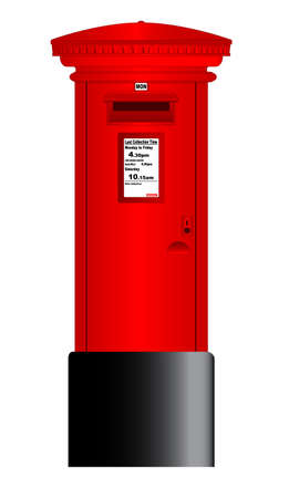 A typical british Royal Mail post box isolated over a white background. Ilustração