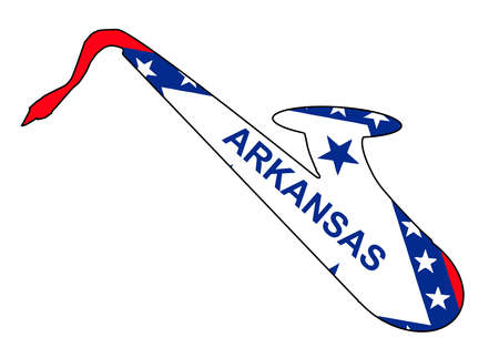 Silhouette of a saxophone with an impression the flag of the state of Arkansas over a white background Иллюстрация