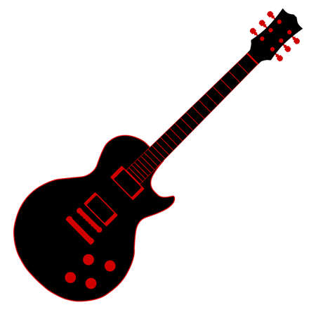 Cartoon black electric guitar isolated over a white background.