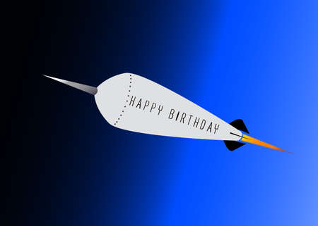 A retro look rocket ship with the message Happy Birthday over a darkening sky background