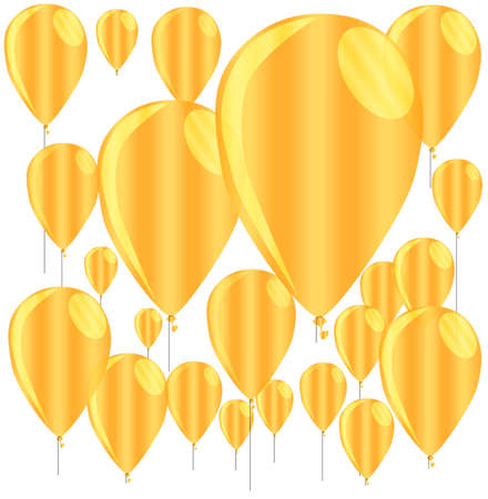 A golden collection of floating gold balloons isolated against a white background