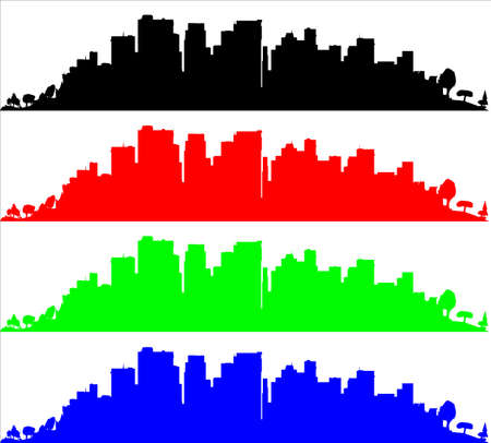 The very edge of a city with trees and set in black red green and blue in silhouette on a white background