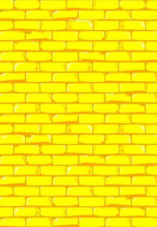 A bright yellow brick wall with showing some damage as a background