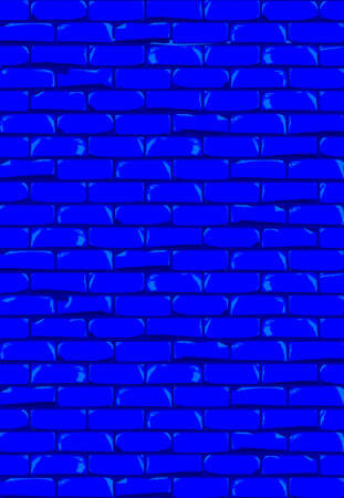 A bright blue brick wall with showing some damage as a background Çizim
