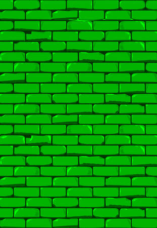 A bright Green brick wall with showing some damage as a background