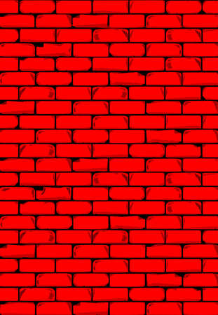 A bright red brick wall with showing some damage as a background