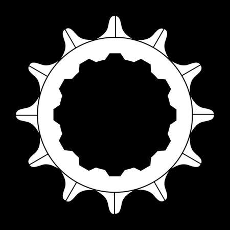 The rear driven cog of a bicycle over a black background