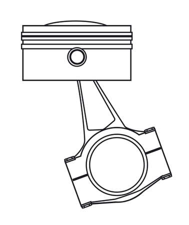Outline drawing od a piston from a petrol or diesel engine with the conecting rod in place.