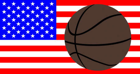 A large brown backetball over a USA Stars and Stripes Flag