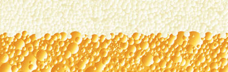 Bubbles and froth on a fizzy drink as a wide banner