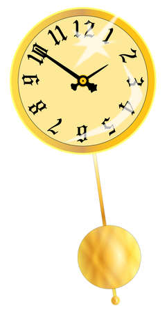 A gold clock face isolated on white with a swinging pendulum Illustration
