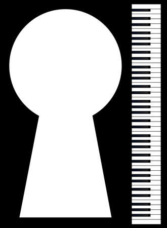 Black and white piano keys set against a black background with a large keyhole for copy
