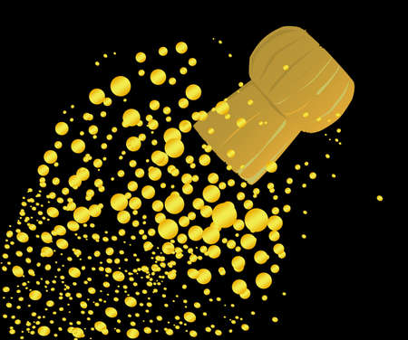 A cork flying from a champagne bottle with bubbles all set on a black background