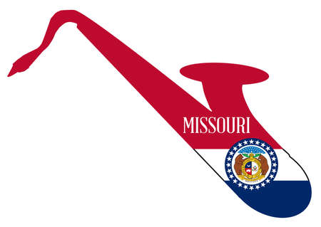 Silhouette of a saxophone with an impression the flag of the USA state of Missouri  over a white background