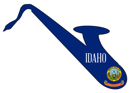 Silhouette of a saxophone with an impression the flag of the USA state of Idaho over a white background