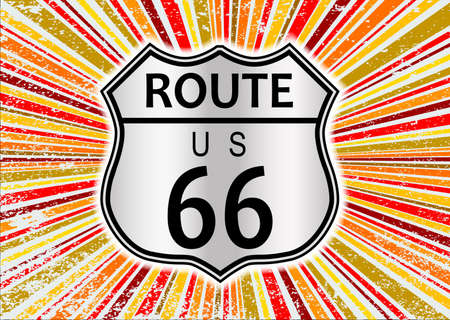 Route 66 highway sign set on an abstract and retro grunge backround design element in reds and oranges