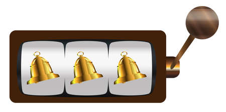 A typical cartoon style three bells on a spin of a one armed bandit or fruit machine over a white background