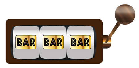 A typical cartoon style three bars on a spin of a one armed bandit or fruit machine over a white background