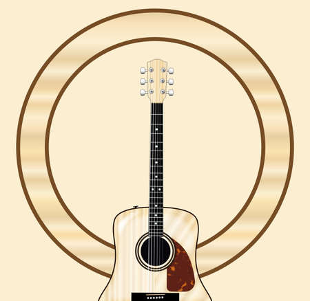 A typical acoustic guitar with wooden circle as a background blank for a musical event poster