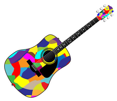 A typical acoustic guitar isolated over a white background. Illustration