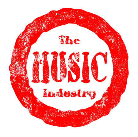 A red ink rubber stamp impression for the music industry over a white background