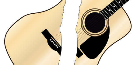 A typical acoustic guitar cutinto two pieces and isolated over a white background. Illustration