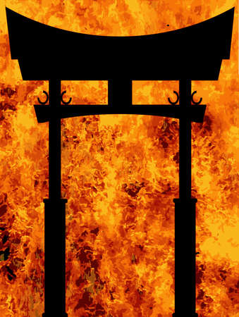 A typical Japanese Tori silhouette over a furnace flames background