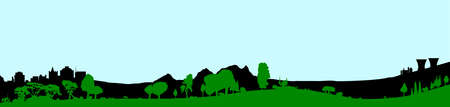 Silhouette of a wooded foreground set on a hill background with buildings and a pale sky Illustration