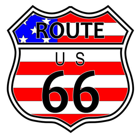 Route sixty six highway sign over a stars and stripes flag background on a white backdrop