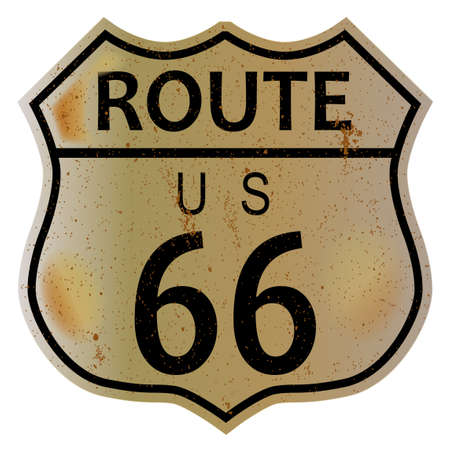 Very old route 66 traffic sign over a white background and the legend ROUTE US 66