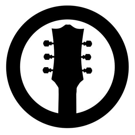 A guitar headstock set in a ring as an isolated rubber ink stamp Illustration