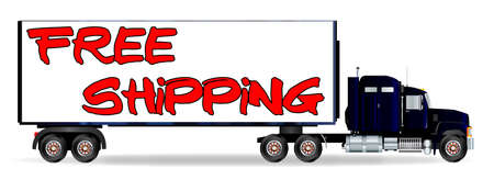 The front end of a large lorry over a white background with FREE SHIPPING inscription