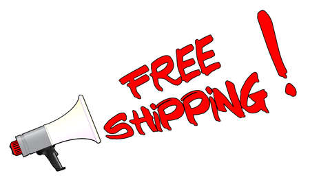 A megaphone isolated over a white background shouting FREE SHIPPING