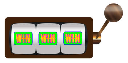 A typical cartoon style three wins on a spin of a one armed bandit or fruit machine over a white background