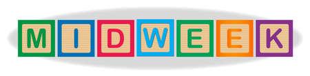 The word Midweek spelled out in kiddies wooden block letters