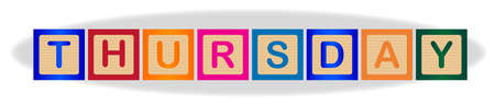 The word Thursday spelled out in kiddies wooden block letters