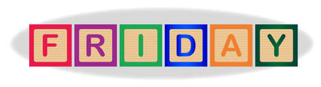 The word Friday spelled out in kiddies wooden block letters Ilustração