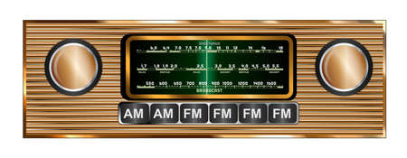 The screen and knobs and buttone of a typical old fashioned and retro car radio om copper over a white background Vettoriali