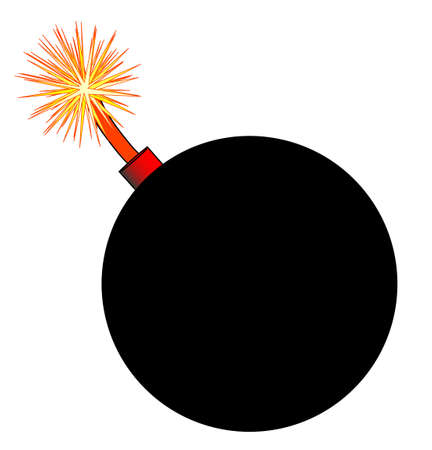 An old fashioned round black bomb with a lit fuse over a white background Иллюстрация