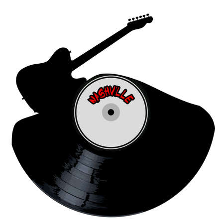 A vinyl LP record with an electric guitar cutout shape with the legend NASHVILLE all isolated on a white background