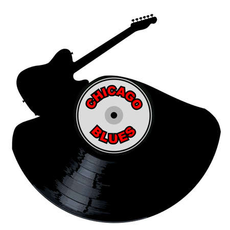 A vinyl LP record with an electric guitar cutout shape with the legend Chicaga Blues all isolated on a white background Illustration