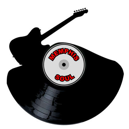 A vinyl LP record with an electric guitar cutout shape with the legend Memphis Soul all isolated on a white background Illustration