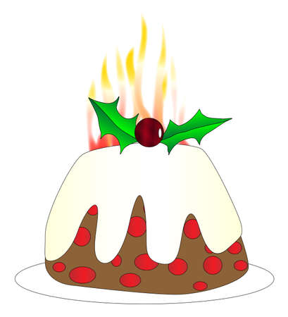 A Chistmas pudding with brandy burning flames