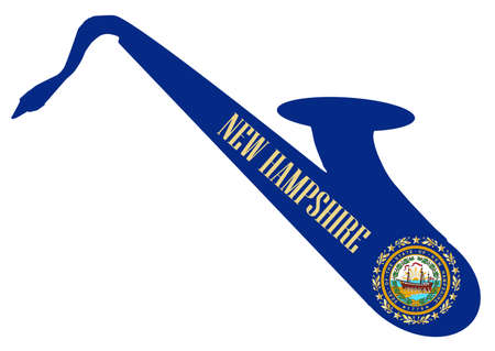 Silhouette of a saxophone with an impression the flag of the USA state of New Hampshire over a white background